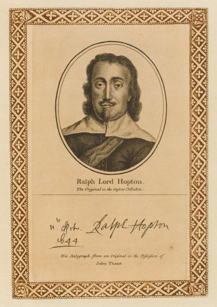 RALPH, lord HOPTON Royalist military commander during the Civil War with his autograph