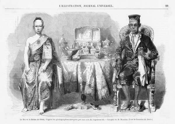 CHAO FA MONGKUT Pictures with Queen Ramphuy. Worked to modernise Siam (modern Thailand), relinquishing control of Cambodia to the French (1867)