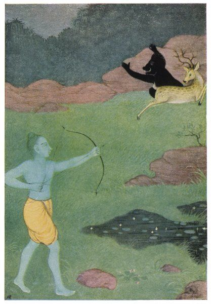RAMA, the 7th avatar of Vishnu, slays Maricha who has assumed the form of a deer