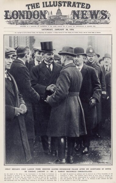 Front cover of The Illustrated London News showing J. Ramsay Macdonald, Britain's first Labour Prime Minister being congratulated on leaving Buckingham Palace where he accepted office