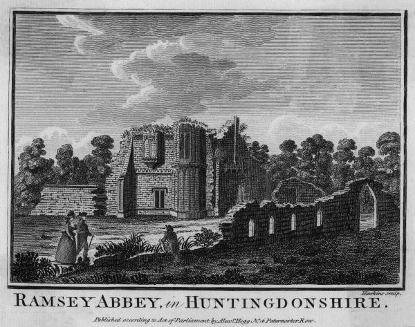 The ruins of the Benedictine Abbey of Ramsey, formerly in Huntingdonshire but now in Cambridgeshire. Date: circa 1770