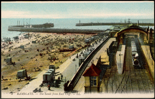 The view from East Cliff gives a bird's-eye view both of the sands and of the railway station where holidaymakers disembark from London