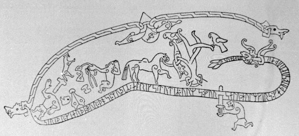 Drawing of the runic inscription at Ramsund Flat Rock, Sodermanland Sweden telling the story of Sigurd Fafnesbane. The extensive inscription had been made by a woman named Sigrid in memory of her husband during the eleventh century. Date