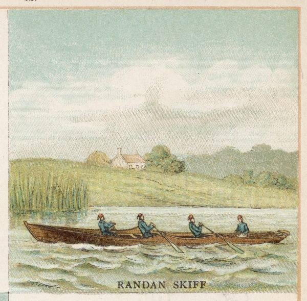 A RANDAN SKIFF, used on the Thames. Remarkably, it has three oars, which you might think would result in one side of the boat moving faster than the other