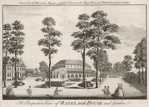 Ranelagh House and Garden, Chelsea, opened as a pleasure garden in 1742