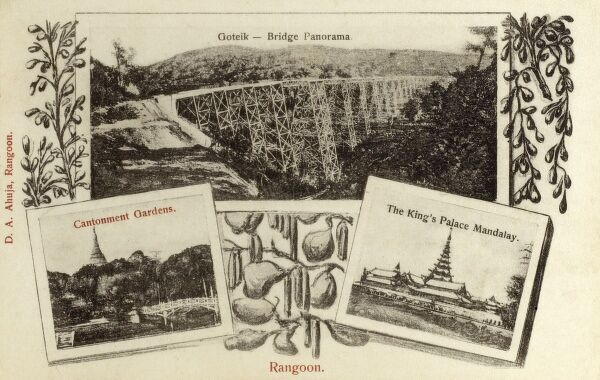 Rangoon - Myanmar (formerly Burma) - Panoramic view of the Bridge at Goteik, the Cantonment Gardens and the Kings Palace in Mandalay. Date: circa 1902