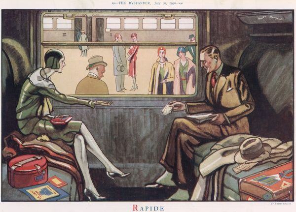 A colour illustration of a stylish couple on board a train in a railway station