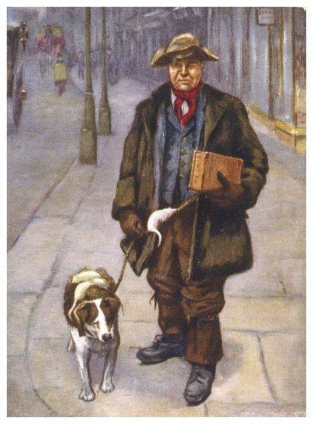 The rat catcher and his dog walking along a London street, striking fear into any rats they meet