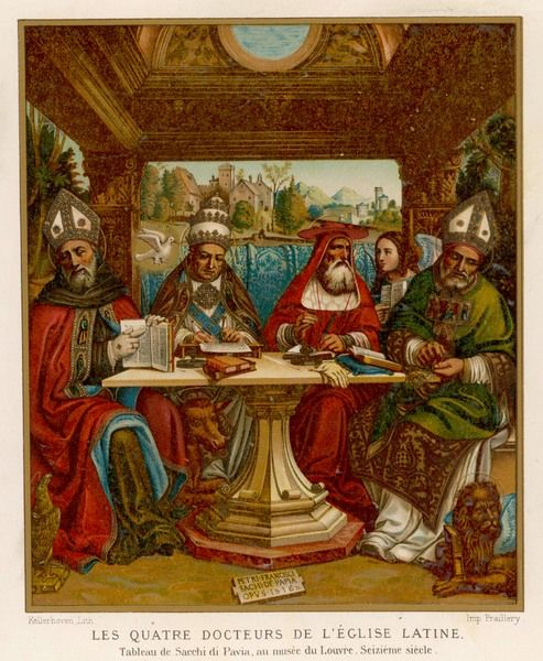 The four doctors of the Catholic Church: Augustine, Gregory, Jerome and Ambrose, sitting at a table with their books