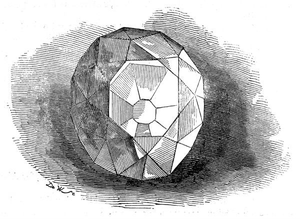 Engraving of the re-cut Koh-i-noor ('mountain of light') diamond, 1852. Previously owned by the Mogul emperors, the Persian Shahs and Ranjit Singh, the Lion of the Punjab, it was presented to Queen Victoria by the East India Company in 1850