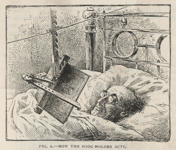 A book-holding device for reading in bed. The book may be inclined to catch the light, whilst the pages are kept free for ease of page- turning