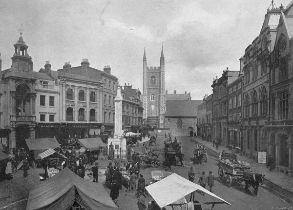 The market place at Reading, Berkshire Date: 1895