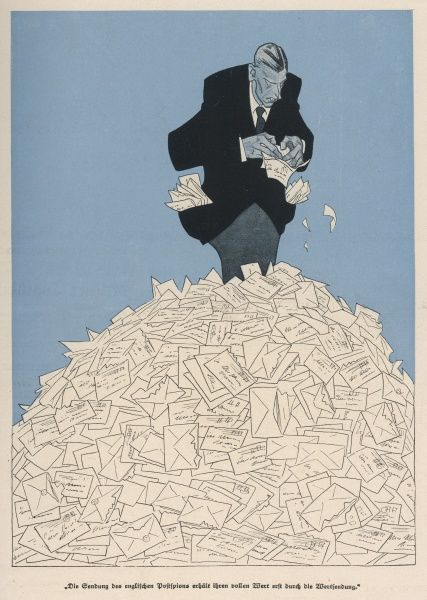 A man in a suit tries to plough his way through an enormous pile of letters