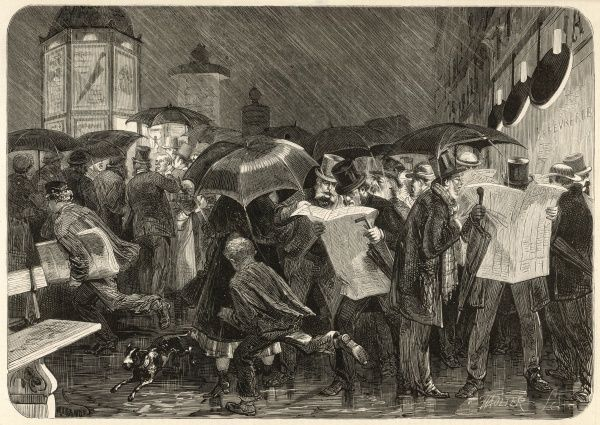 The streets are crowded with top-hatted gentlemen eagerly reading the main story of the day, umbrellas shielding them from the heavy rain
