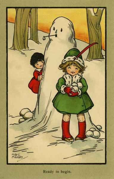 Ready to begin -- two children with a snowman and snowballs.  20th century