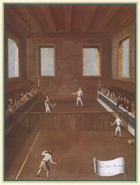 'Giocco della racchetta' - four Italians in a game of real tennis in an indoor court, watched by spectators