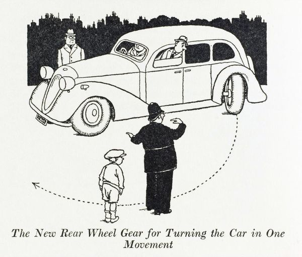 The rear wheel gear for turning the car in one movement. Illustration by William Heath Robinson. Please note: Credit must appear as Courtesy of the estate of Mrs J.C.Robinson/Pollinger Ltd/Mary Evans Picture Library