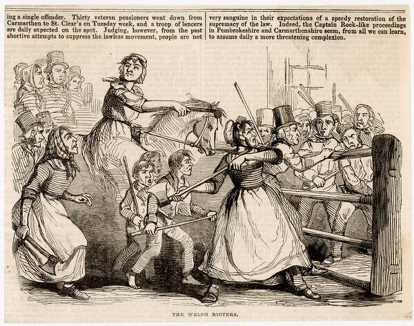 REBECCA RIOTS during which toll gates were attacked in South Wales. Many of the male rioters dressed as women & called themselves 'Rebecca & her daughters&#39