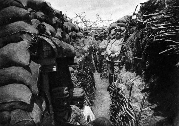 A French trench, complete with dug-outs, converted quickly from a German trench hit by a mine