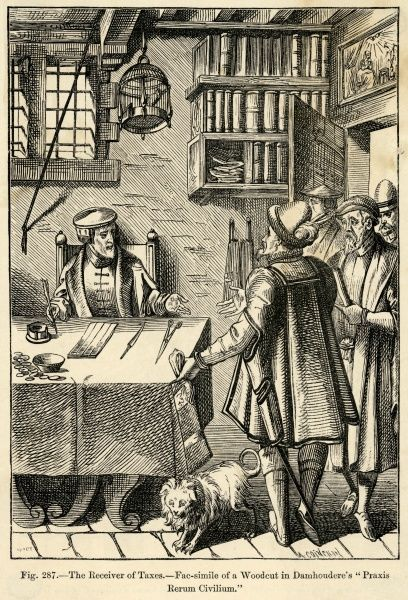 French citizens arrive to pay taxes to the tax receiver. Date: 16th Century