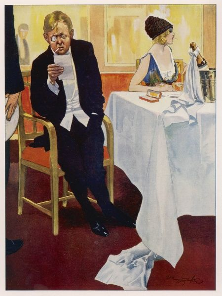 "Entitled ""We Have Met With A Slight Check in one Quarter"" a man displays shock on receiving the bill after dinner with a rather glamorous companion"
