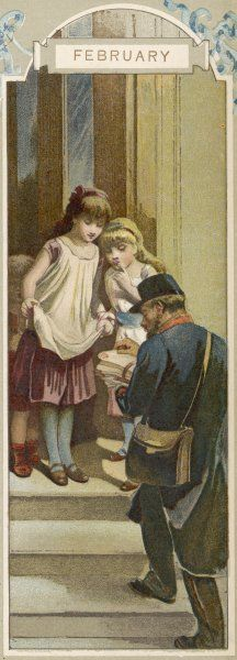 Two girls have been waiting eagerly for the post on Saint Valentine's Day : now one of them holds out her pinafore to receive her share from the postman