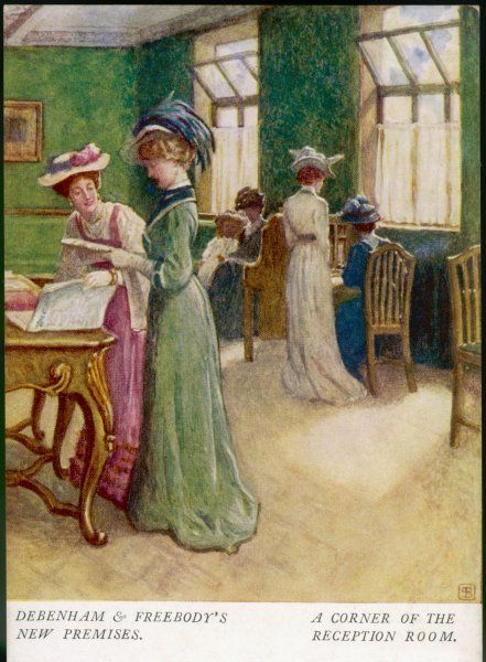 'A corner of the Reception Room' A small group of women eager to begin shopping wait their turn to be served