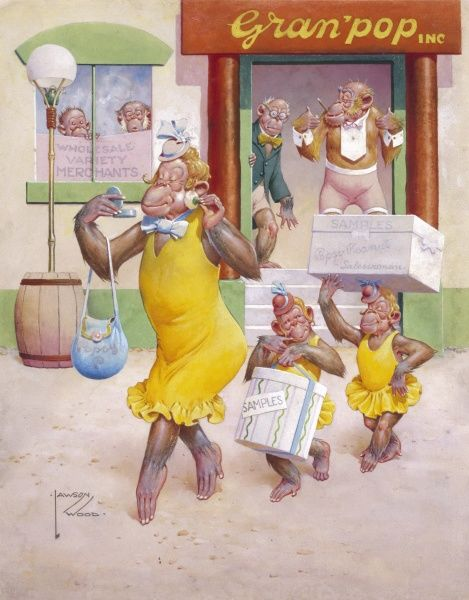 A wholesale distributors forecast record sales as their new glamorous sales woman leaves the warehouse with two little monkey assistants. Illustration by Lawson Wood