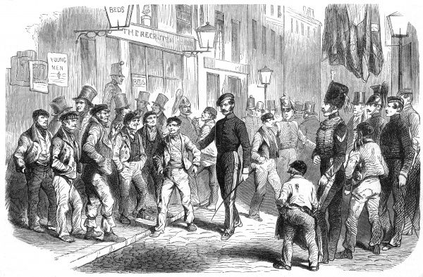 Recruiting for the Crimean War in Charles Street, Westminster. Date: 1855