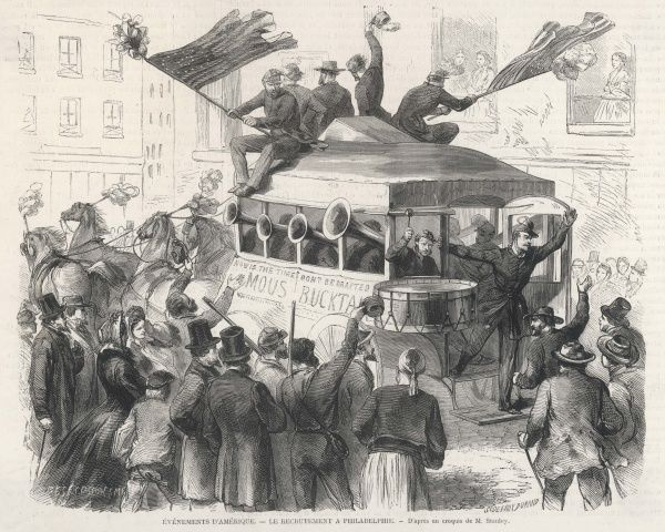 Recruiting for the Union from a horse-bus in the streets of Philadelphia, city of brotherly love, with trumpets a-blaring and flags a-waving