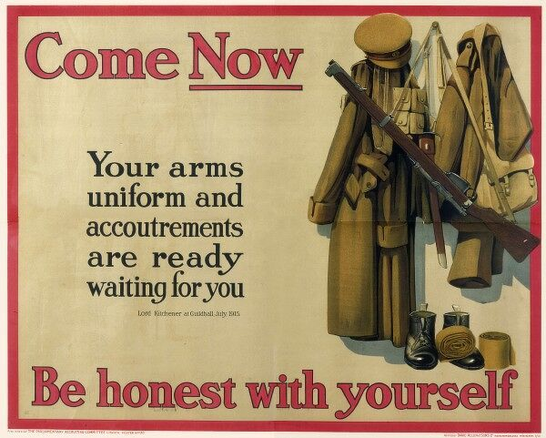 Recruitment poster from the First World War depicting an unclaimed soldier's kit and uniform, waiting to be filled by a volunteer