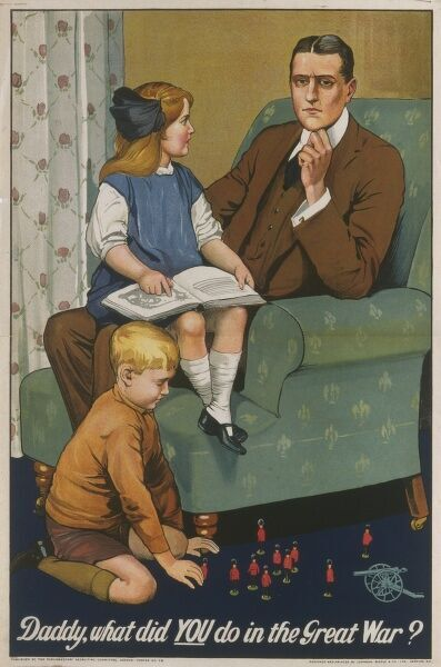 Daddy, what did YOU do in the Great War? A young girl reading about World War One poses a difficult question to her Father; a clever campaign to promote duty to serve
