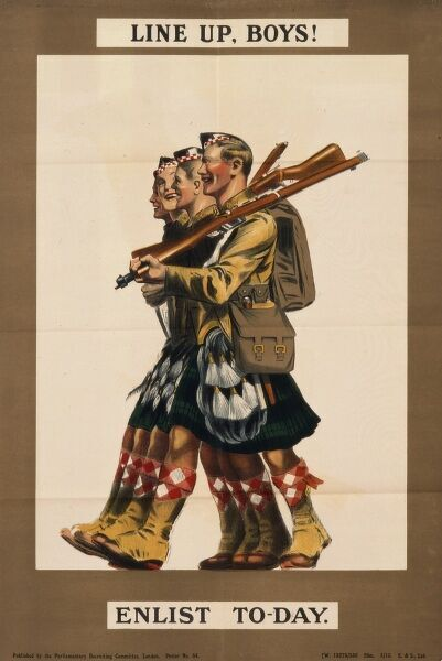 Recruitment poster for the British Army, showing four laughing and smiling soldiers marching along in their kilts, with rifles over their shoulders. Line up, boys! Enlist today
