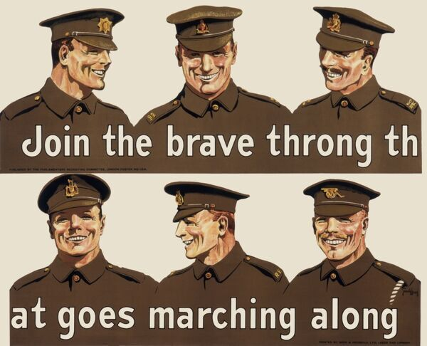 Recruitment poster for the British Army, in two sections: Join the brave throng that goes marching along. Six soldiers are depicted in khaki uniform, smiling happily