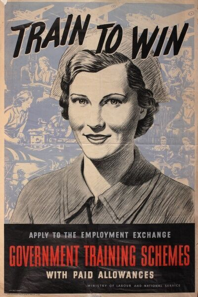 Recruitment poster, Train to Win, featuring a woman in nurse's uniform. Apply to the Employment Exchange, government training schemes with paid allowances. Aimed specifically at women.  1940s