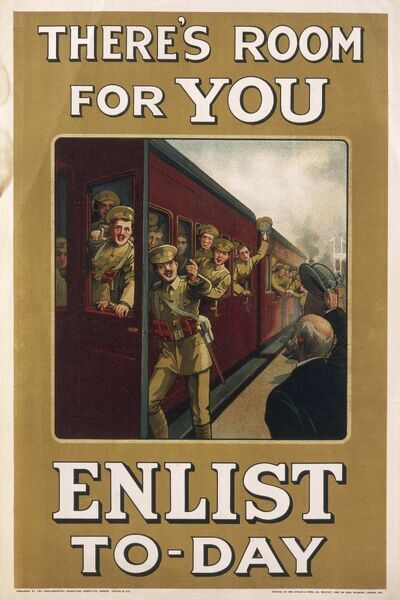 A recruitment poster from the First World War showing a crowded troop train with room for a few more, in other words, YOU!