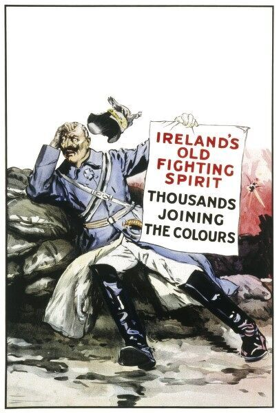 Recruitment poster from World War One aimed at encouraging Irish men to join up