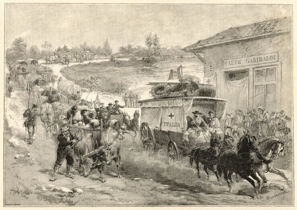 RED CROSS Depiction of the Italian Red Cross ambulance during the fighting in Bulgravia; causing a build up of traffic