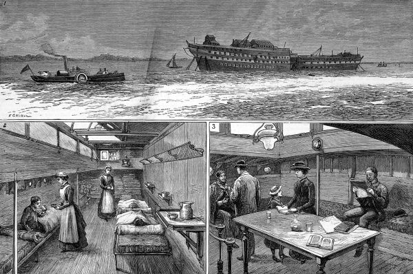 The 'Red Cross' steamer carrying patients during a smallpox epidemic to the hospital ships at Long Reach