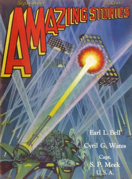 Soviet Russia perceived as a threat in American science - fiction : in Captain Mack's 'The Red Peril' Russian craft, protected by force fields, defy the U.S. defences Date: 1929