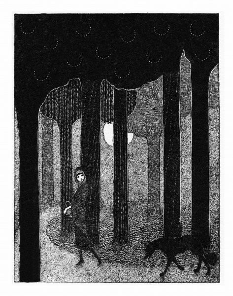Red Riding Hood by Jennie Harbour. Red Riding Hood meets the wicked woolf in the woods. Date: circa 1925