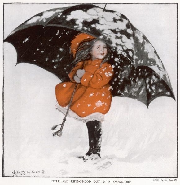 A small girl, perhaps Little Red Riding Hood, braves a blizzard under the protection of a huge, black umbrella