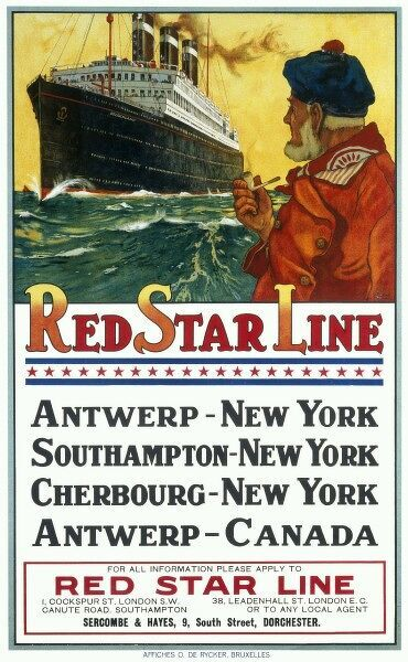 Poster for the Red Star Line shipping company promoting its passenger liner service between Antwerp, New York, Southampton, Cherbourg and Canada