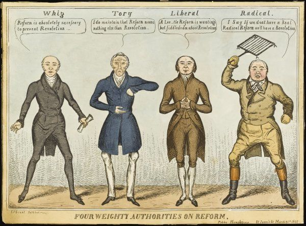 'Four Weighty Authorities on Reform' Attitudes to the reform issue from the political spectrum. Date: 1831