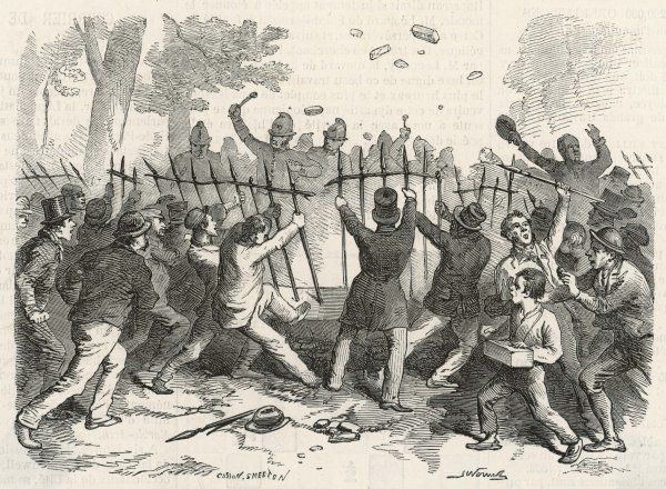 The Reform League meeting in Hyde Park, London, dissolves into rioting as the crowd pull down railings on Park Lane; the police struggle to maintain control