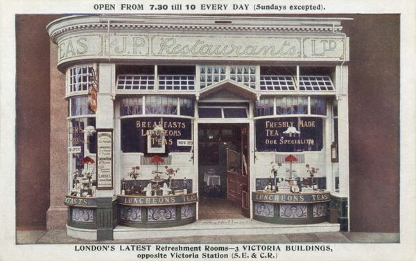 Small Refreshment Rooms (J.P. Restaurants Ltd.) opposite Victoria Station, Pimlico, London. Freshly made tea was their speciality!
