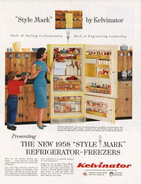 Kelvinator refrigerator- freezer, with its roll-out freezer basket, breakfast bar, roll-out fruit basket and portable bottle basket