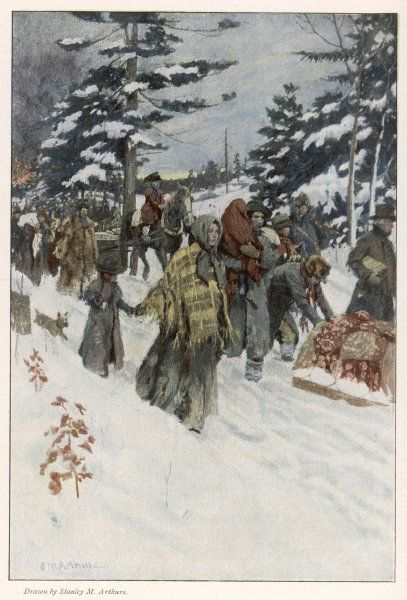 When war breaks out, residents near the Canadian frontier, near Niagara, flee southwards through the snow