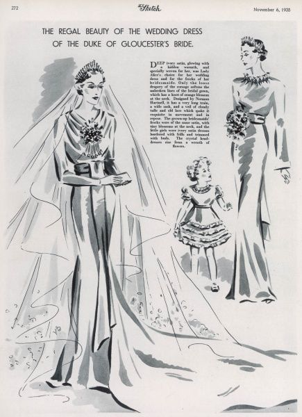 Lady Alice Scott's wedding dress made of deep ivory satin, designed by Norman Hartnell for her marriage to Prince Henry, Duke of Gloucester in November 1935. Date: 6th November 1935, p272