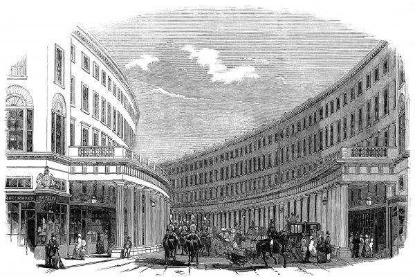 Engraving showing the Regent's Quadrant, by Nash, viewed from Vigo Street, London, 1848